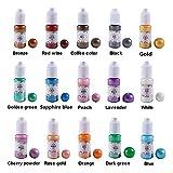 15 pigments nacrés liquides colorés avec des paillettes, couleur de mélange de pigments de colorant pour résine époxy DIY Kit