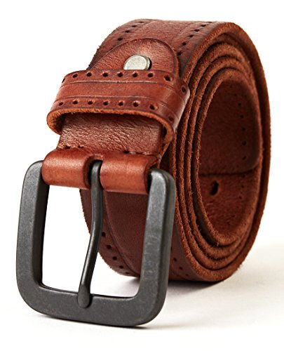 3ZHIYI Vintage Cinturón de piel de 100% búfalo cuero de pantalones vaqueros para hombre (Marrón, 110CM (tamaño rectificado 39'-43'))