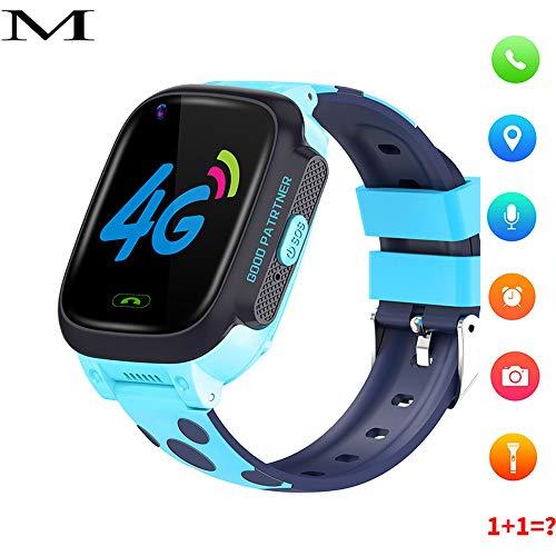 tmallss Kinder Smartwatch,Videoanruf-Telefonuhr GPS-intelligentes Telefon Wasserdicht, Videoanruf, Frühe Ausbildung, Schritt, Blau -
