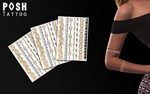 Joy Sheet 2-3 Tattoo Bögen - Bänder Armbänder Fußketten orientalisch - Klebe Tattoos mit 21 Gold und Metallic Motive - Original POSH Tattoo ()