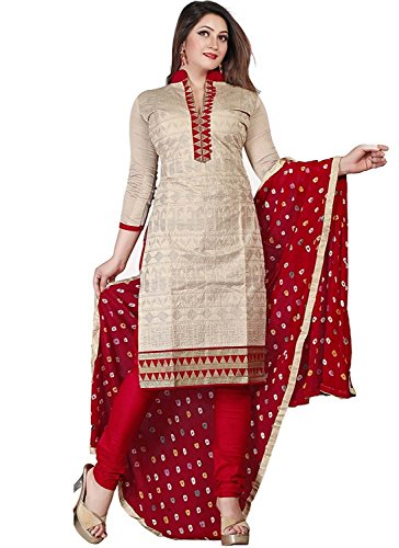 Mrs Women's Cotton Salwar Suit (Dress Material Mrs-Swe-66_Red_Free Size, Semi-Stitched )