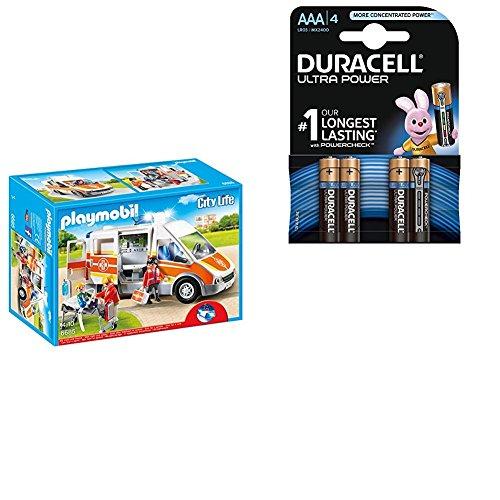 PLAYMOBIL 6685 - Krankenwagen mit Licht und Sound mit Duracell Ultra Power Typ AAA Alkaline Batterien (4er Pack)