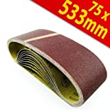 Schleifpapier Bandschleifer 75x533 mm Schleifbänder K40 Schleifband 10Stck
