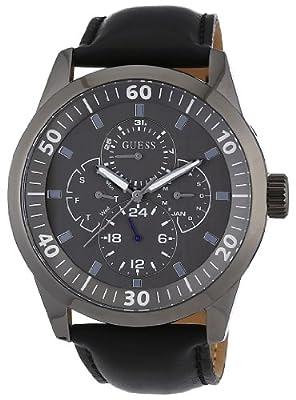 Guess port W10584G1 - Reloj de caballero de cuarzo, correa de piel color negro