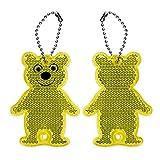 Lantra Besa Kinder Jungen Mädchen Reflektierende Schlüsselringe Pendant 2Pcs Bären für Rucksäcke Schultaschen Radfahren Sicherheit Zubehör Hohe Sichtbarkeit - Gelb