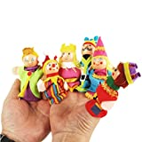SevenMye 6 Pcs/set King Queen Family Finger Puppets Wooden Headed Baby Educational Toy