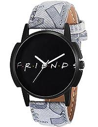 Eraa Grey Strap Black Friends Analog Wrist Watch For Men