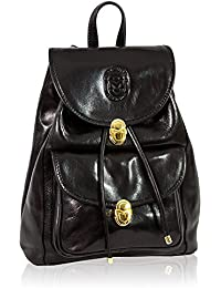 6cb27a4a9d Marino Orlandi Italian Designer Black Leather Oversized Rugged Backpack Bag