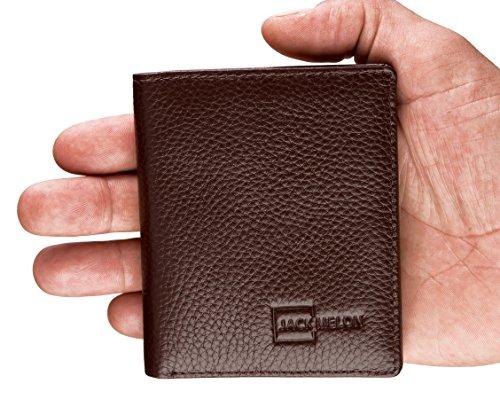 Flaches Portemonnaie von Jack Melon für Herren - Slim Wallet aus Leder ohne Münzfach mit RFID Schutz - mini Portmonee | Geldbörse in Dunkelbraun | Brieftasche mit Geschenkbox für Männer