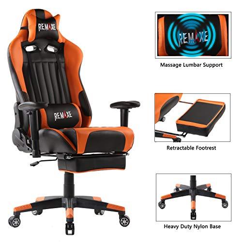 Computer Spielstuhl mit Fußstütze - Einstellbare Drehenende zum Haus Office Liegestuhl mit Hohen Rücken Kopfstütze und Taille-Massage Unterstützung Lehnstuhl für PC(Schwarz & Orange)