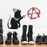 BANKSY ANARCHIE Ratte Schablone wiederverwendbar startseite-wand-dekor Schablone Graffiti Banksy Stil Kunst Schablone Wandfarbe Stoffe & Möbel - halb transparent Schablone, S/17X25CM