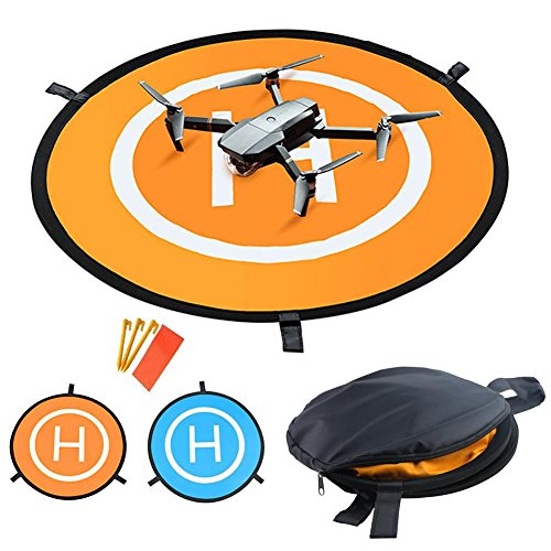Pawaca Drones Pad – Almohadillas de lijado portátiles de 55 cm universales impermeables, plegables rápidas para Parrot, Yuneec,DJI Phantom 3/4,3DRSolo Drone, DJI Mavic Pro,DJI Inspire, Antel Robotic X-star&More, Yellow+blue, 55 cm