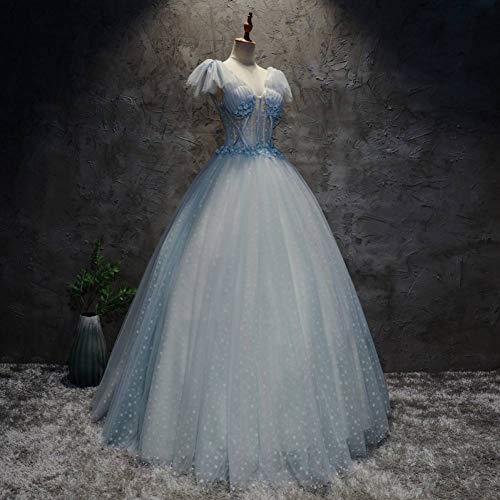 Schnee Königin Kleid Und Cape - QAQBDBCKL Cosplay Schnee hellblau Ballkleid mittelalterlichen