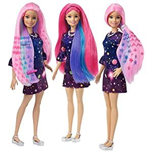 Barbie FHX00 FASHION AND BEAUTY Feature Doll Colourful Long, Pattern Activated Hair and Fabulous Accessories