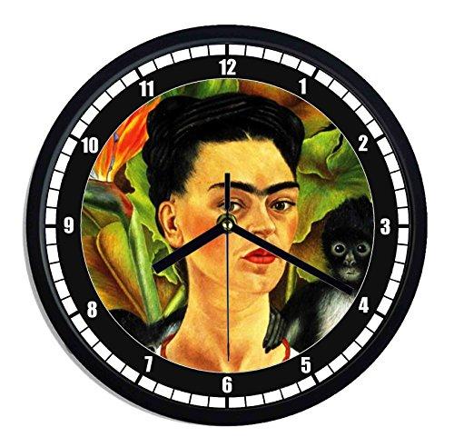 Reloj de pared de plástico Frida KALHO-Autoritratto con monos