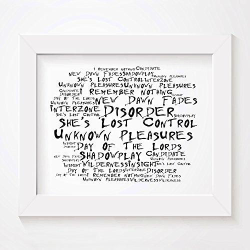 `Noir Paranoiac` Kunstdruck Poster - JOY DIVISION - Unknown Pleasures - Unterzeichnet und Nummerierten Limitierte Auflage Typografie Ungerahmt 25 x 20 cm Wand Kunst Druck Text Lyrisch Plakat - Song Lyrics Art Print Poster (Kunstdrucke Joy Division)