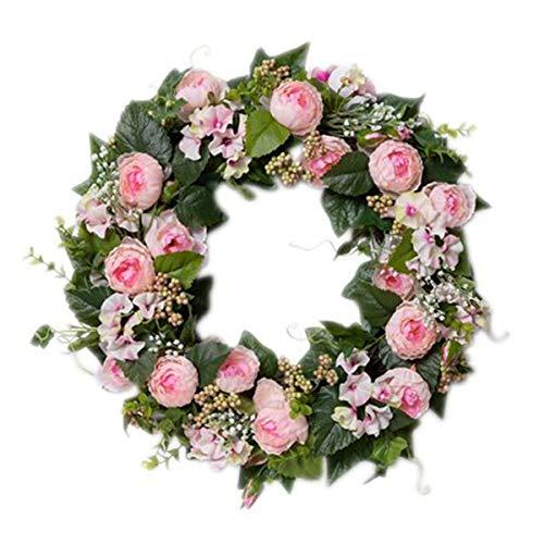 Pureday Dekokranz Rosalee - Blütenkranz - Rosa Grün - ca. Ø 40 cm