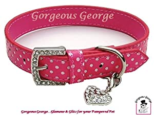 """Gorgeous Pink and White Spotty Dog Collar with FREE diamante charm size 14""""-18"""""""