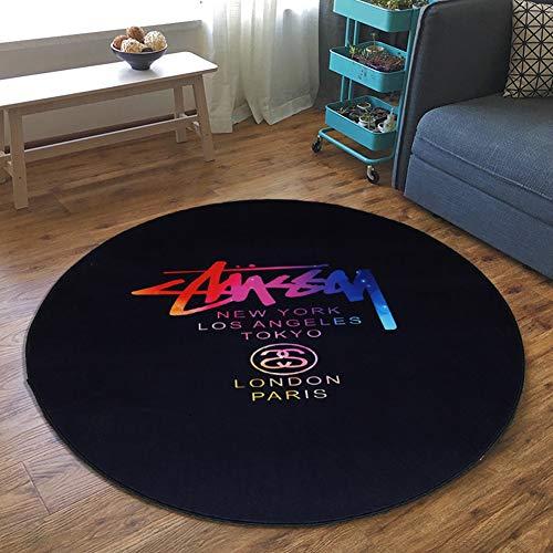 SODKK Schlafzimmer Teppiche 200cm Rund Trendig Gemütlich Pflegeleicht 8 Washable Wiederverwendbar Teppich Aufkleber für Schlafzimmer, Esszimmer, Flur und Kinderzimmer Farbige Buchstaben