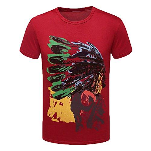 WanYang Casual Herren Rundhals Shirt für Männer Bedruckt Kurzarm T-Shirt mit Aufdruck Oberteil Rot