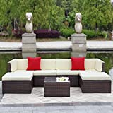 IKAYAA Outdoor Patio Garden Furniture Sofa Set 7PCS Cushioned Ottoman Corner Couch Sectional Furniture Rattan Wicker (Dark Brown + Beige Cushion + Red Pillow)
