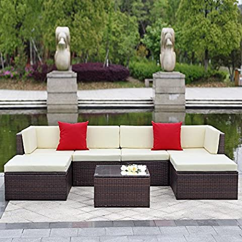 IKAYAA Outdoor Patio Garden Furniture Sofa Set