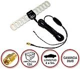 Antena de TDT (televisión digital terrestre) amplificada a 12V con conector SMA y ganacia de 28dB