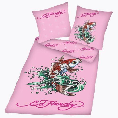 """Preisvergleich Produktbild Ed Hardy 4844-41050 Microfaser Bettwäsche """"Fisch"""" 80 x 80 cm / 135 x 200 cm rosa"""