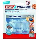 tesa Powerstrips Deco-Haken, transparent, für max. 1kg, Packung mit 2 Haken