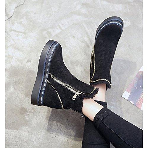 HSXZ Scarpe donna pu inverno Comfort stivali Null Round Flat Toe Null / per esterno Nero Marrone Black