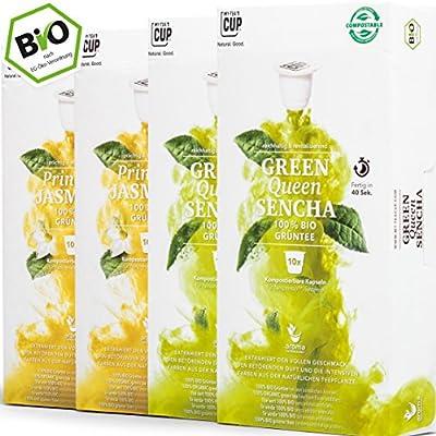 4 x 10 Capsules de Thé Biologique compatibles avec Nespresso. Boîte de Thé Vert 40 Capsules 2 Sortes sans Aluminium ni Plastique de My-TeaCup