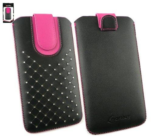 Emartbuy® Schwarz / Hot Rosa Edelsteinbesetzt PU Leder Slide in Hülle Tasche sleeve Halter ( Größe 5XL ) Mit Zuglasche Mechanismus Geeignet Für Padgene R8 Smartphone 6 Zoll