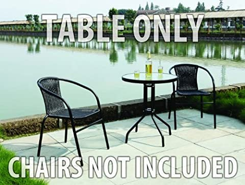 Black Metal Frame Bistro Table with Glass Tabletop Outdoor Dining