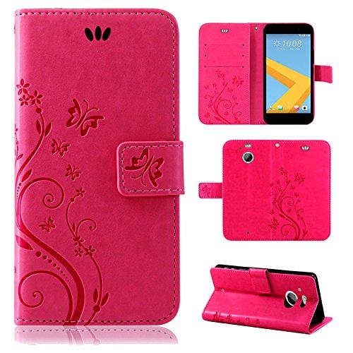 betterfon | Flower Case Handytasche Schutzhülle Blumen Klapptasche Handyhülle Handy Schale für HTC 10 Evo Pink