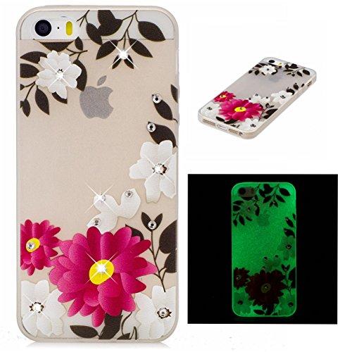 iPhone 5 5G 5S SE Coque, Voguecase TPU noctilucent protecteur avec Absorption de Choc, Etui Silicone Souple Transparent, Légère / Ajustement Parfait Coque Shell Housse Cover pour Apple iPhone 5 5G 5S  fleur rouge 17