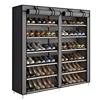 YAYI Shoe Rack 6-Tier Shoe Storage Hode up to 36 Pairs Shoes With No-woven Fabric Cover