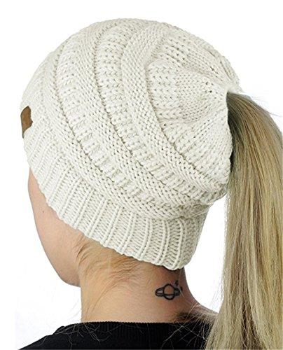 NYKKOLA Women's Stretch Knit Messy High Bun Ponytail Beanie Hat Warm Winter Tail Cap