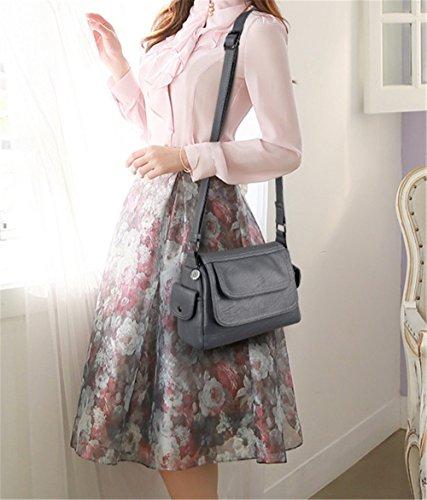 Xinmaoyuan Borse donna medio - anziana madre Messenger grande capacità semplice borsa a tracolla,grigio Grigio