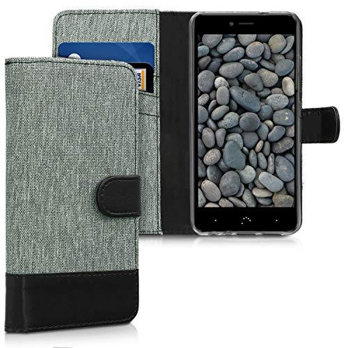 kwmobile bq Aquaris X2 / X2 Pro Hülle - Kunstleder Wallet Case für bq Aquaris X2 / X2 Pro mit Kartenfächern und Stand