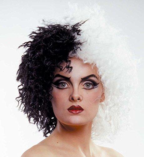 Perücke Cruella, schwarz-weiß, Kunsthaarperücke, schulterlange Perücke, für (Perücke Beängstigend)