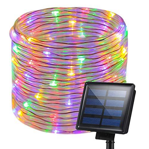 KEEDA Solar-Lichterkette, 200 LEDs, 8 Leuchtmodi, Kupferdraht, Lichterkette für Außen, Terrasse, Garten, Weihnachten, Baum, Zaun multi