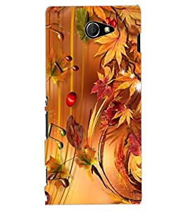 ColourCraft Beautiful Music Notes Design Back Case Cover for SONY XPERIA M2 DUAL D2302