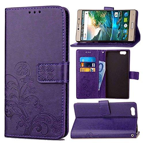 Guran® PU Ledertasche Case für Elephone M2 Smartphone Flip Cover Brieftasche und Stent Funktionen Hülle Glücksklee Muster Design Schutzhülle - Lila