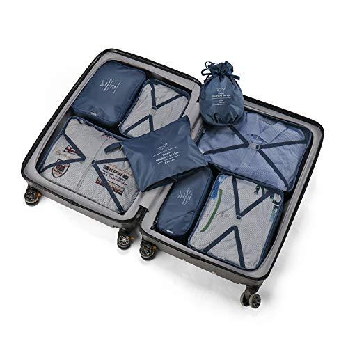 Koffer Organizer Reise Kleidertaschen 8 Sets/7 Farben Travel Gep?ck Organisatoren enthalten Wasserdichte Schuh-Aufbewahrungsbeutel Bequeme Kompressions Beutel f¨¹r Reisende£¨Marine£© ¡