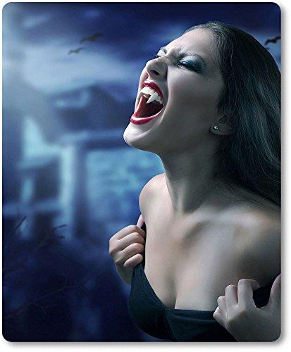 Mauspad / Mouse Pad aus Textil mit Rückseite aus Kautschuk rutschfest für alle Maustypen Motiv: Sexy Vampir Vampirin Porträt vor düsterem Hintergrund [ 01 ] (Fledermaus Vampirin)