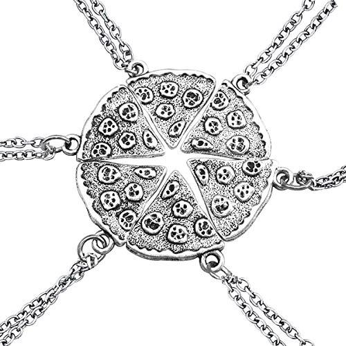 Un conjunto collares plata forma pizza paquete seis