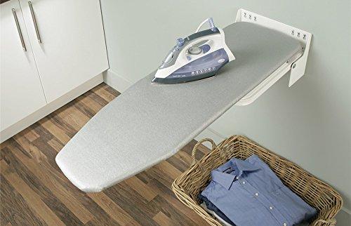 GedoTec–Tabla de planchar plegable Ironfix Premium, con rayas grises, mesa plegable, 180° giratoria, acero RAL 9016, tabla de planchar para montaje en pared, marca de calidad para tu salón