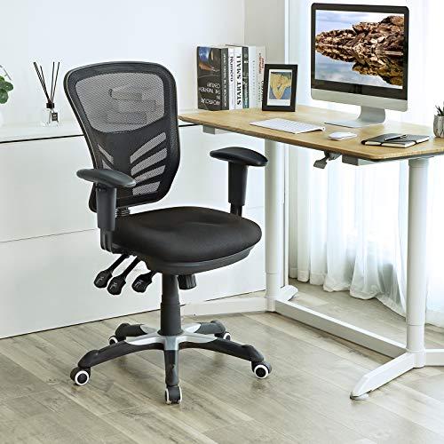 SONGMICS Bürostuhl, Ergonomischer Drehstuhl, Schreibtischstuhl aus Maschenmaterial, Höhenverstellbar Rückenlehne, 3 Einstellhebel, Lendenstütze und