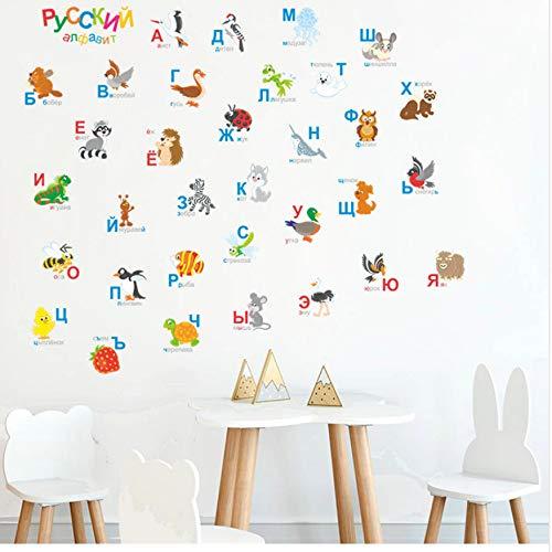 WFYY Russische Alphabet wandaufkleber Schlafzimmer Cartoon Russland Tier Buchstaben für kinderzimmer Baby Wand der Kindergarten PVC Kunst Aufkleber