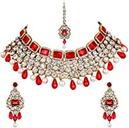 Shining Diva Traditional Bridal Crystal Necklace Set/Jewellery Set with Maang Tikka and Earrings for Women(Pin